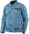 Diamond Plate Rag Denim Motorcycle Jacket with Patches - Size L