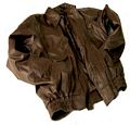 Chocolate Brown Genuine Solid Leather Bomber Jacket - Size L