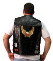 Genuine Buffalo Leather Biker Black Vest - Size XL